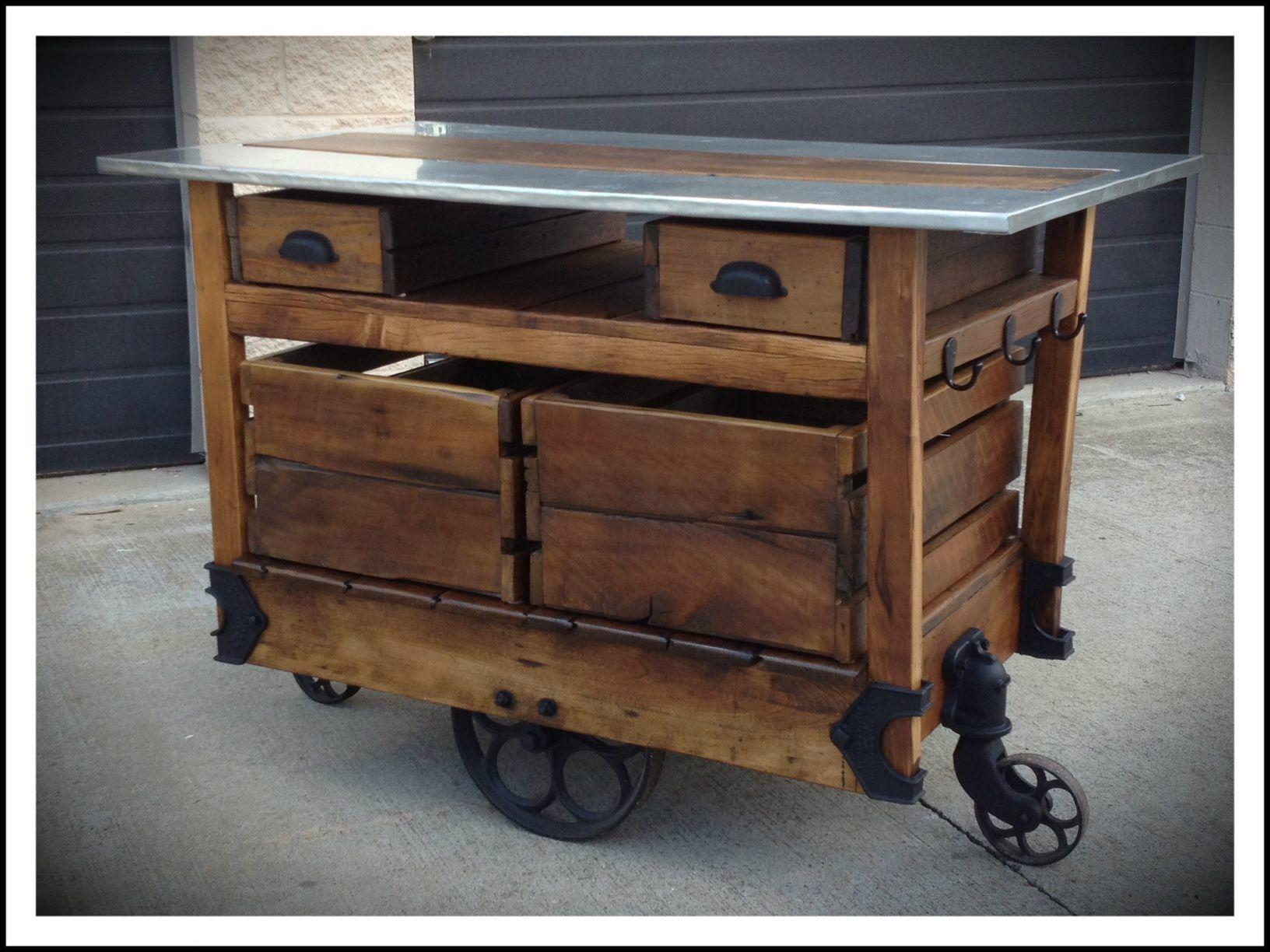 Tasteful Reclaimed Wood Island Cart With Zinc Top As Inspiring Repurposed Furniture Wi Rustic Kitchen Island Industrial Kitchen Island Kitchen Island On Wheels