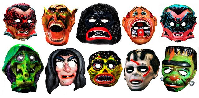 vintage halloween masks from the 1970s
