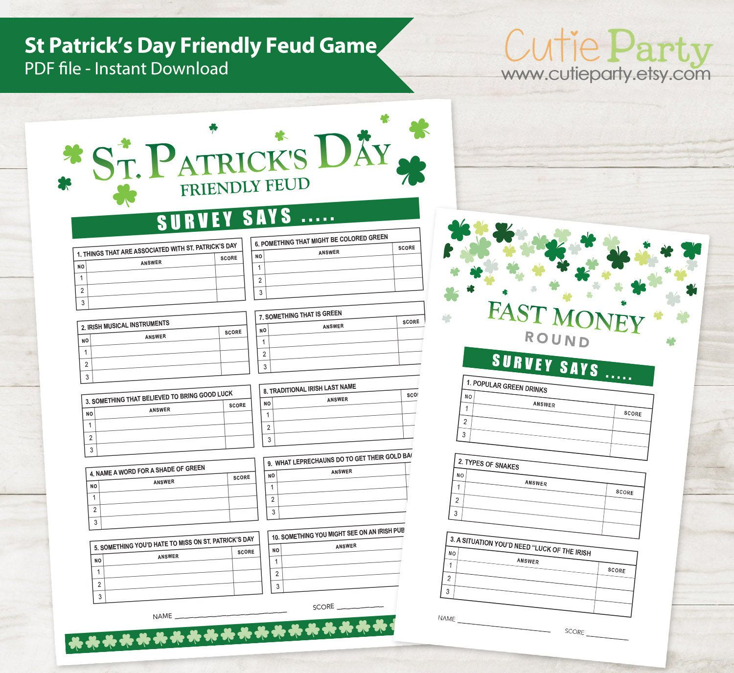 St Patrick S Day Party Game St Patrick Family Feud Game Irish