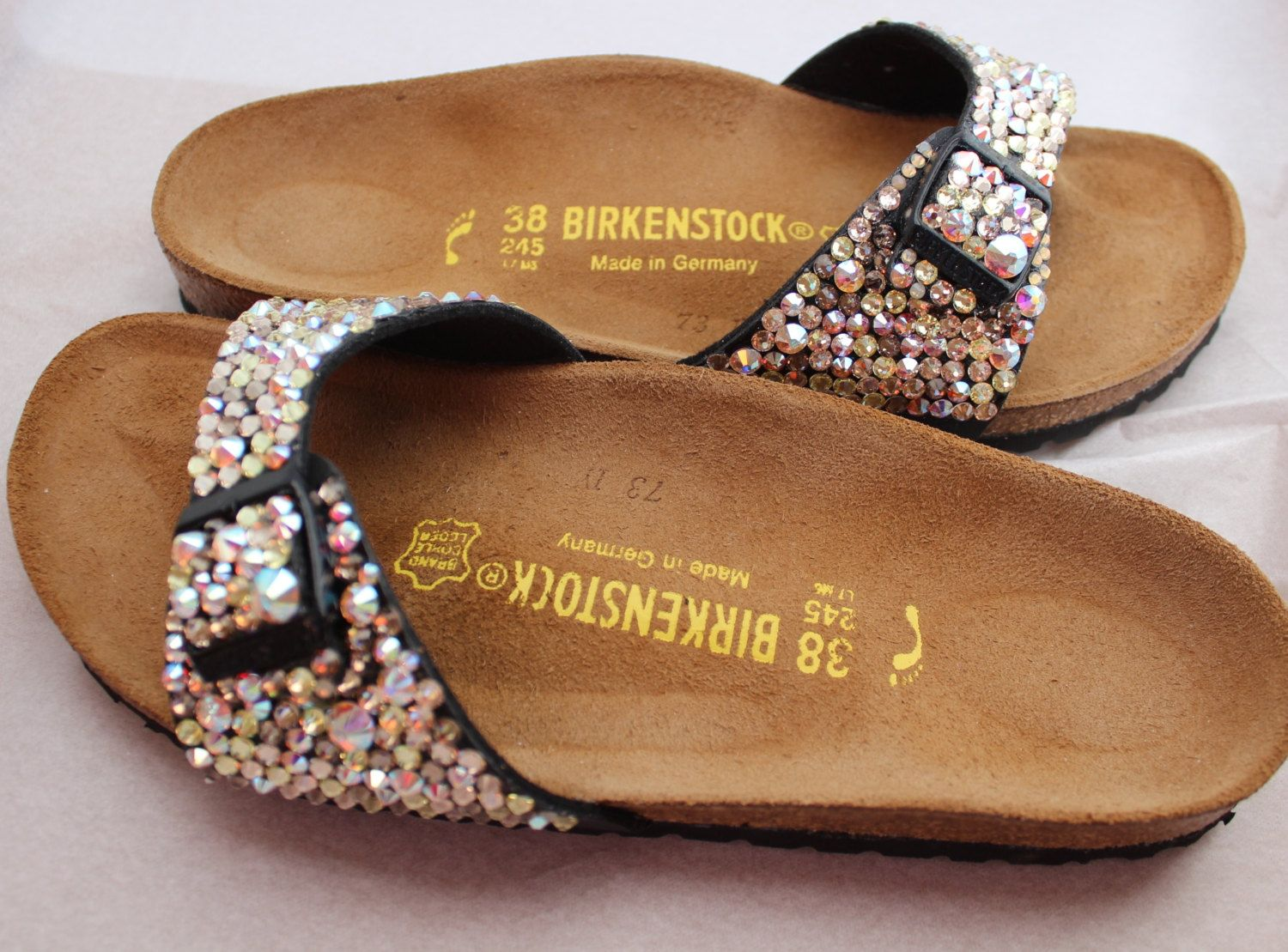 ced2cab96df Rhinestone Birkenstock Madrid Sandal with Swarovski Elements by birkdazzle  on Etsy