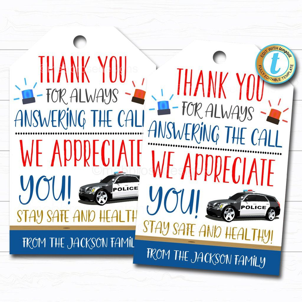 Police Appreciation Gift Tag, Thank You Gift First