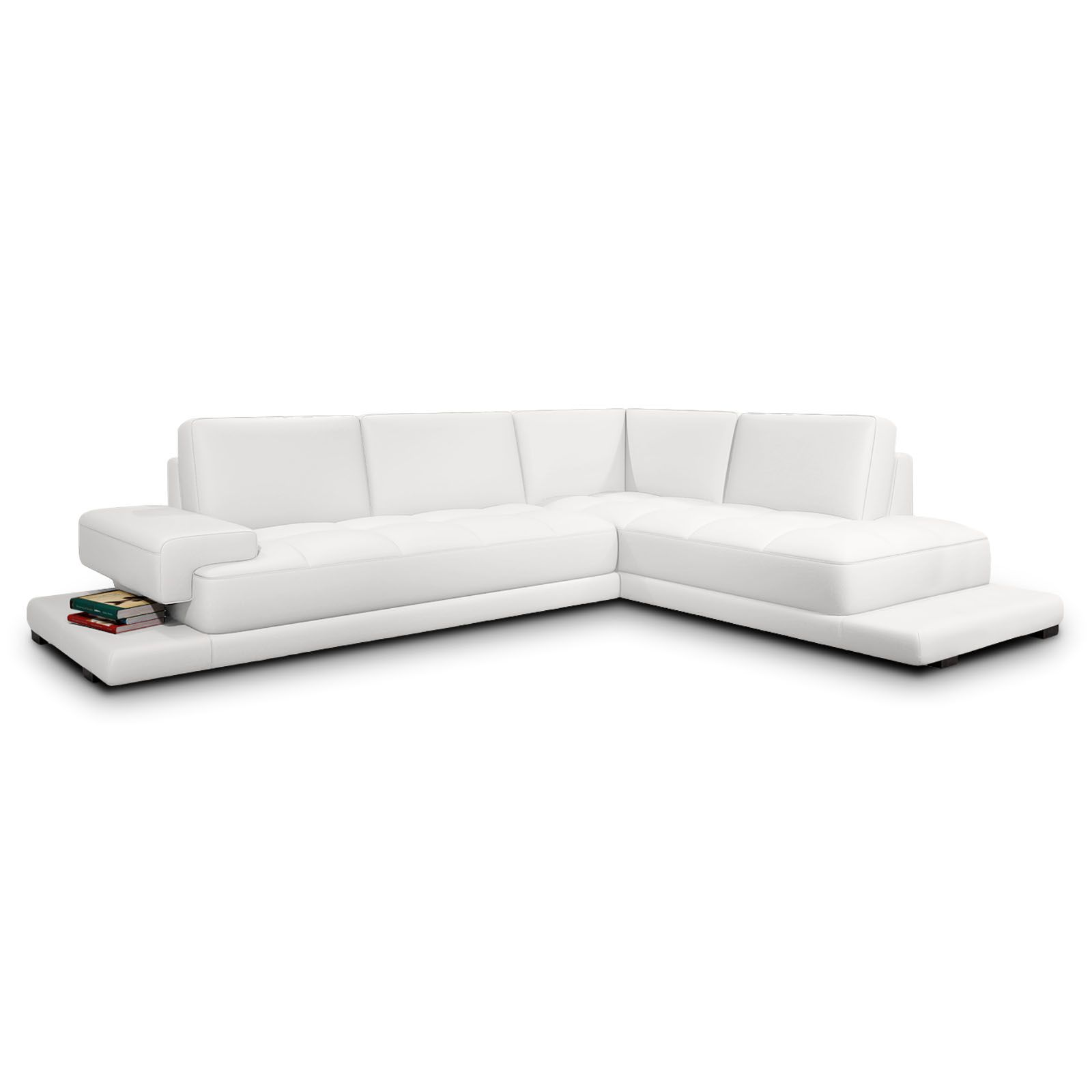 Ledersofa modern beige  Ecksofa Palermo Echt Leder Sofa weiss mit Ablage modern seitlich ...