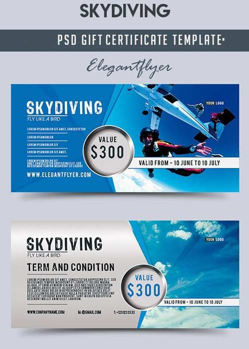 Skydiving V1 Gift Certificate Psd Template Free Download Skydiving