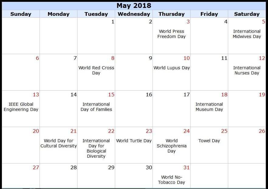 May 2018 Printable Calendar Templates With International Holidays