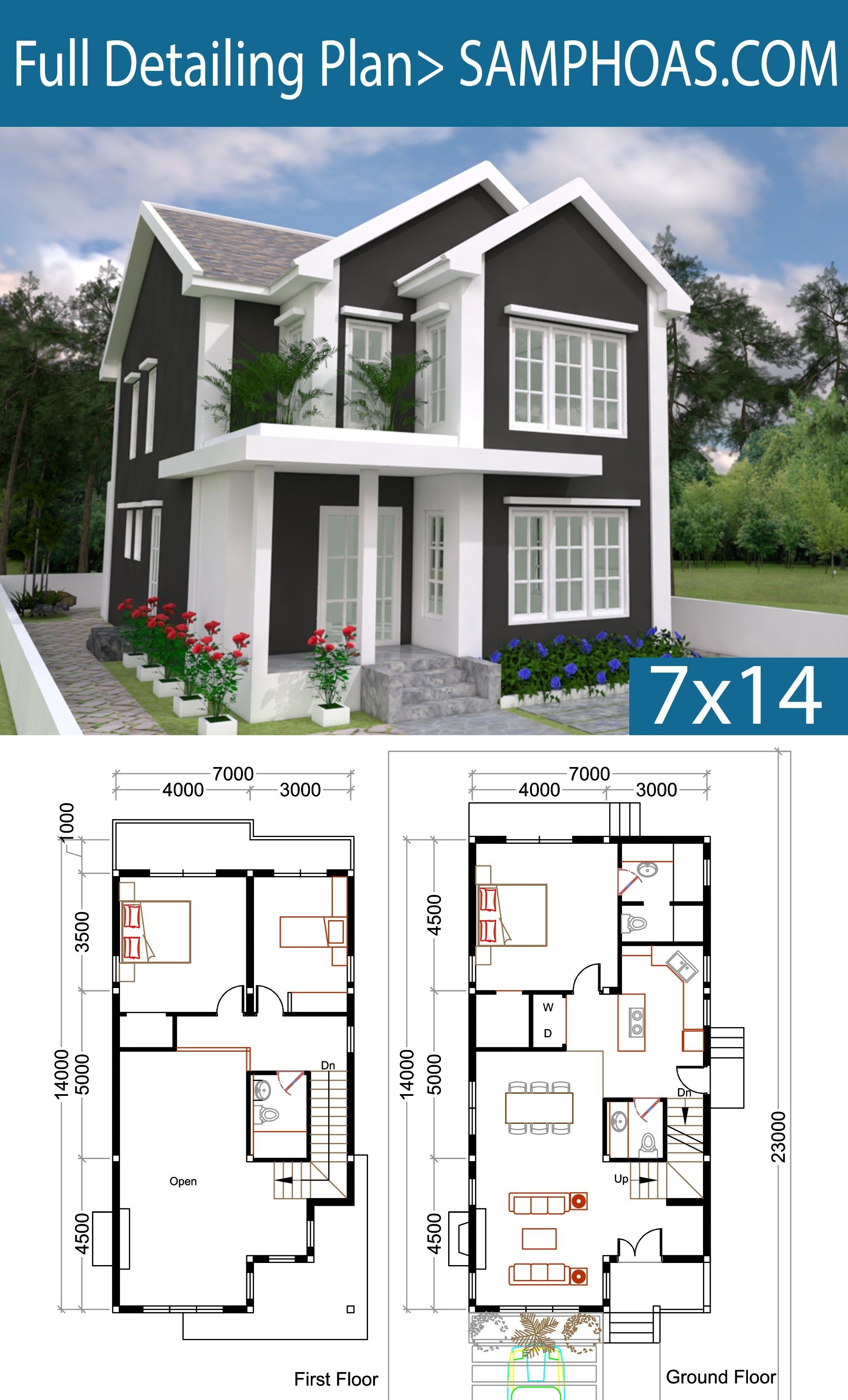 3 Bedrooms Home Plan 7x14m This Villa Is Modeling By Sam Architect With 2 Stories Level It S Has 3 Bedro House Plans Three Bedroom House Plan Sims House Plans