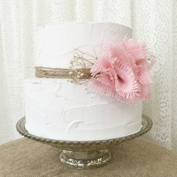 Rustic Cake Topper Burlap Cake Topper Shabby Chic Cake: Burlap Cake Topper Pink Burlap Flower Pink By