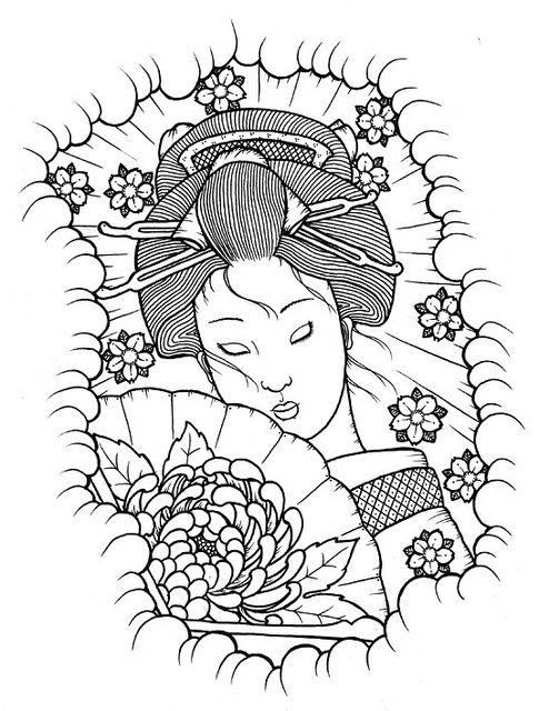 geisha coloring pages   Google&39;da Ara   Dibujos japoneses ...