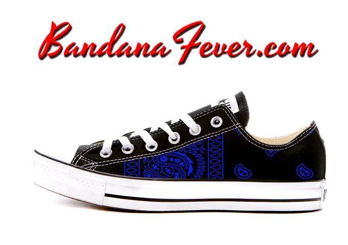 ecff62ef11b5 Custom Royal Blue Bandana Converse Shoes Low Black