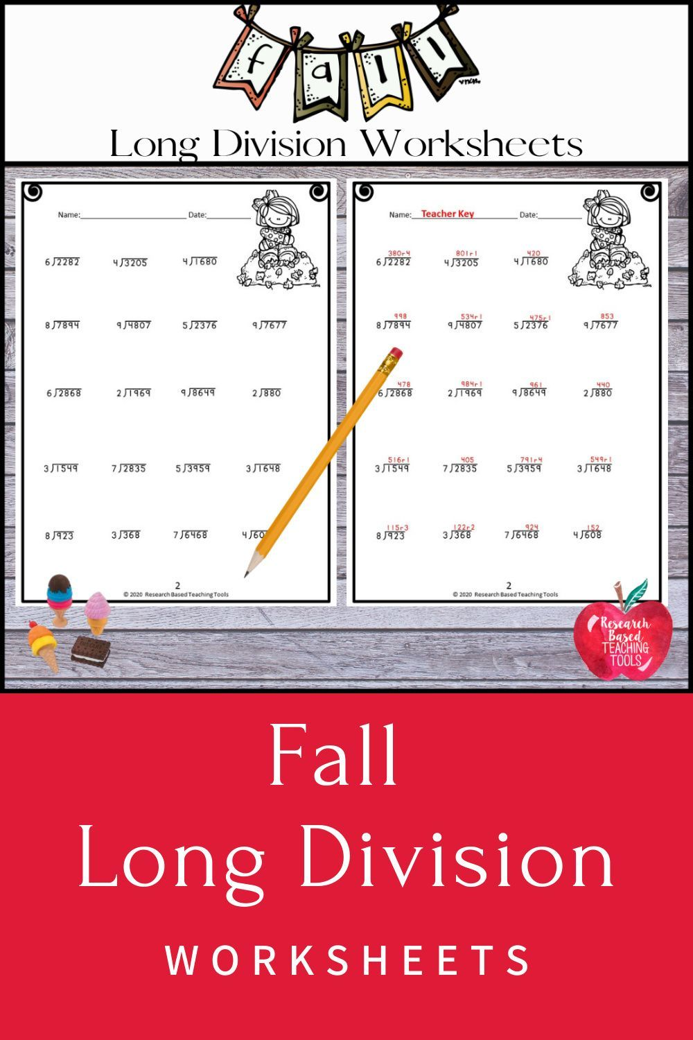 Fall Long Division Practice great for Distance Learning in