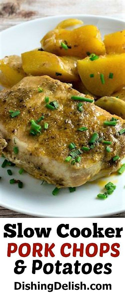 Cooker Pork Chops & Potatoes are a delicious fix and forget meal for those busy nights.