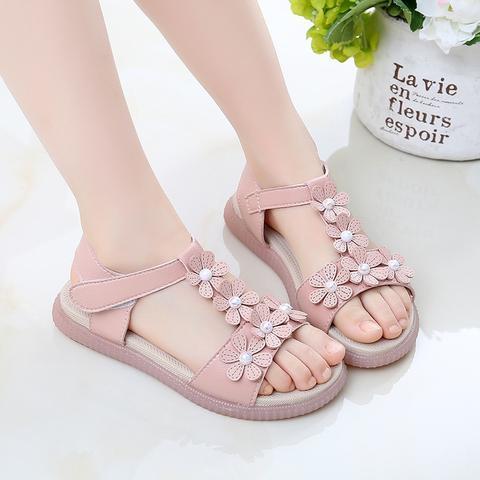 Girl Sandals Summer Shoes Cute Flower Shoes Pink Open-toe Girls Beach Sandals