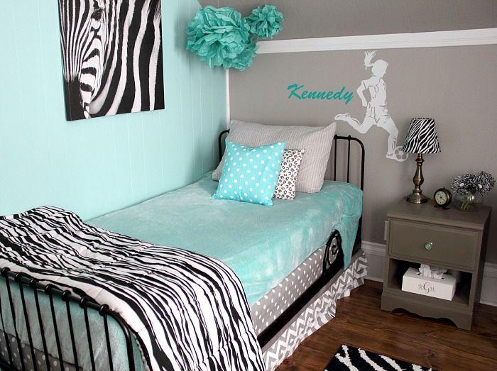 Zebra Print Decor In Kids Rooms Bedroom Makeover Before And After Tween Bedroom Makeover Zebra Room