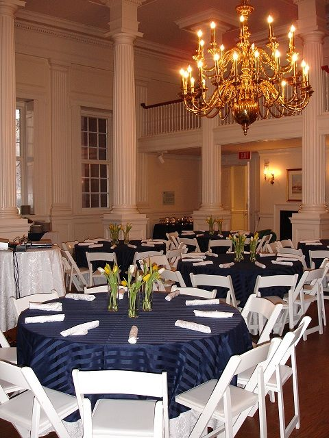 Chair Cover Rentals Hartford Ct Cool Chairs For Girls Navy Satin Stripe With White Wood By Taylor Rental Party Plus Manchester