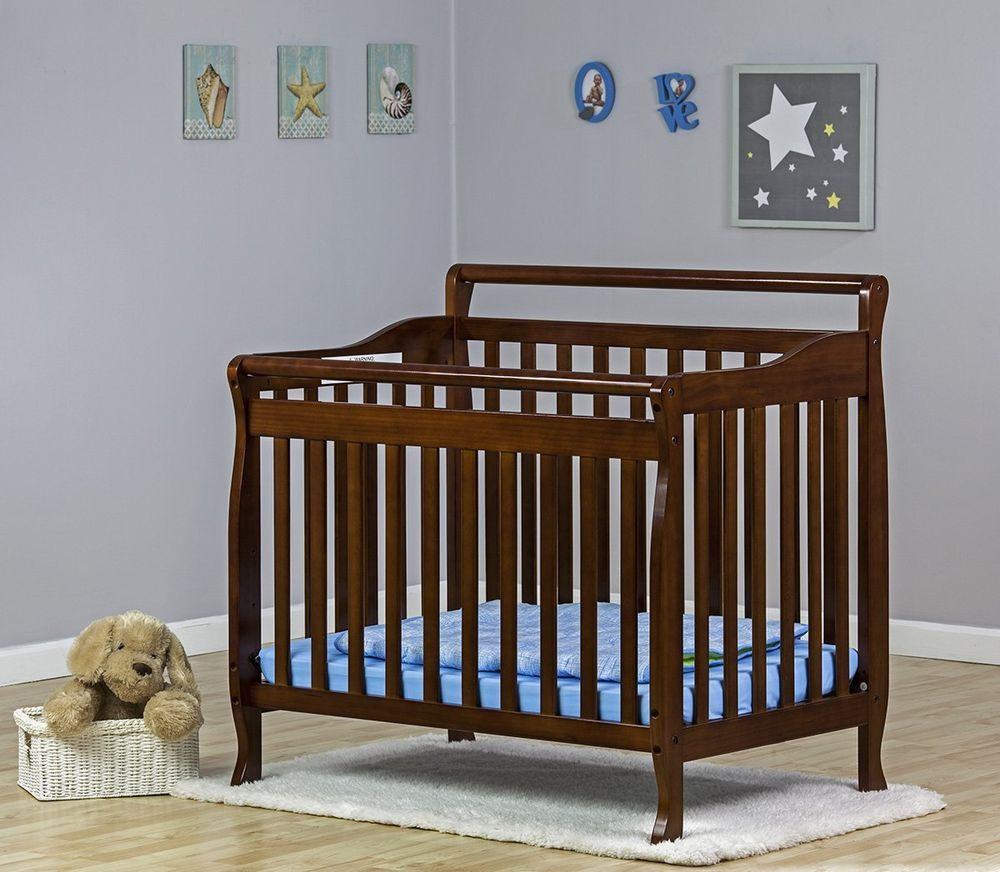 Crib Baby Bed 4 In 1 Convertible Espresso Portable Daybed