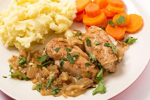 Pechugas De Pollo En Salsa De Almendras Cebolla Y Vino Receta Pechuga De Pollo En Salsa Pollo En Salsa De Almendras Pollo En Salsa