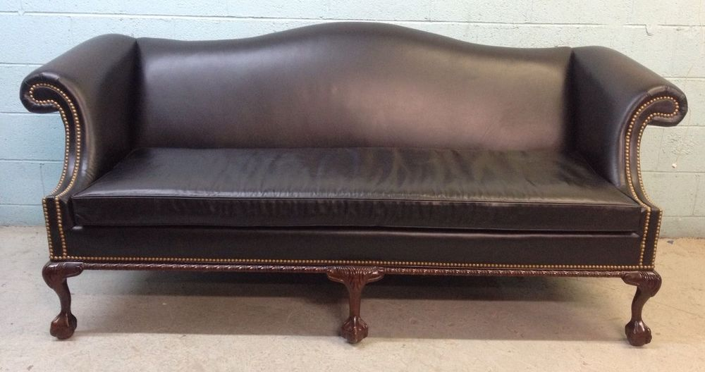 Han Moore Leather Ball And Claw Foot Camelback Chippendale Sofa Couch