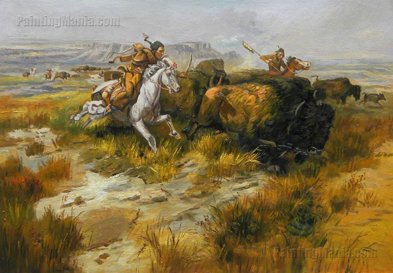 Indian Buffalo Hunt Land Of Good Hunting Charles Marion Russell Art Drawings
