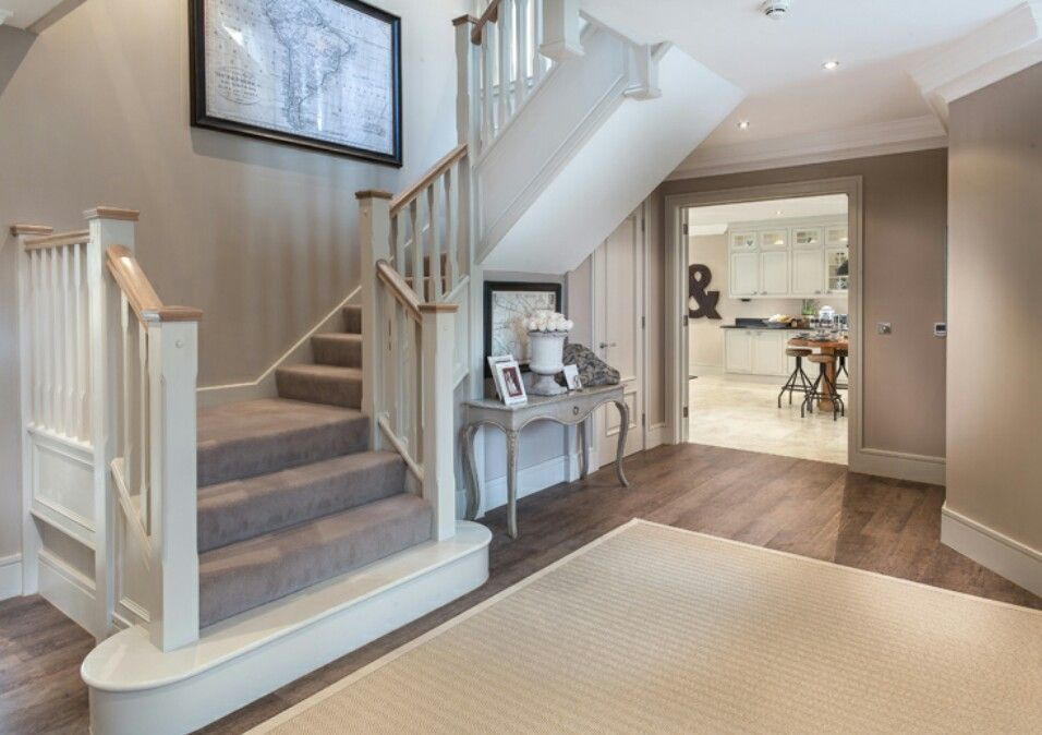 Interior Designed Hallway Entrance Hall Beautiful Classical   Mink Carpet On Stairs   Design   Step   Grey   Open Plan   Taupe Painted