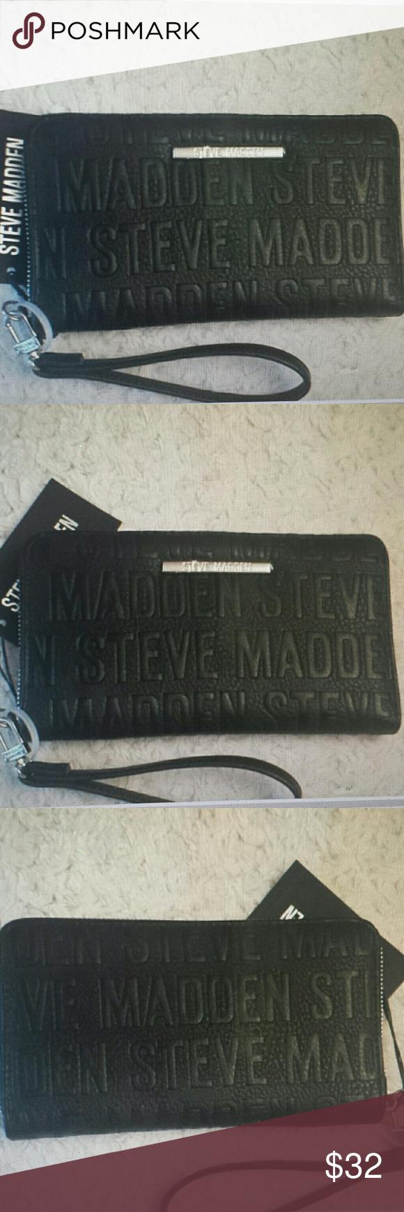 Steve Madden Nwt Black Logo Wristlet And Wallet Black Logo Steve Madden Steve Madden Bags