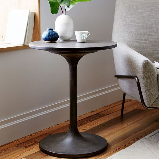 199 Concrete Pedestal Side Table West Elm 20 Diameter X 23 5 Ht Concrete Top Base Vietnam Living Room Side Table Pedestal Side Table Side Table
