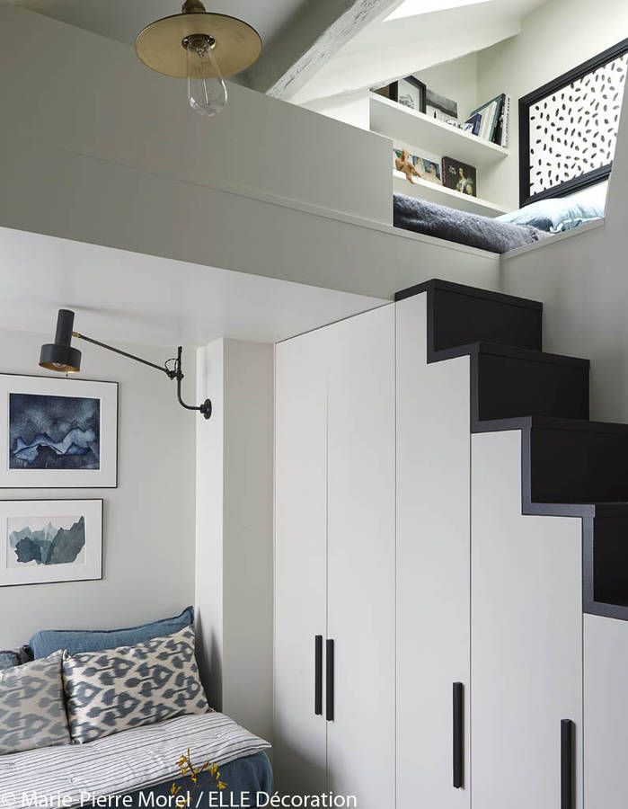 mezzanine accessible gr ce un am nagement astucieux. Black Bedroom Furniture Sets. Home Design Ideas