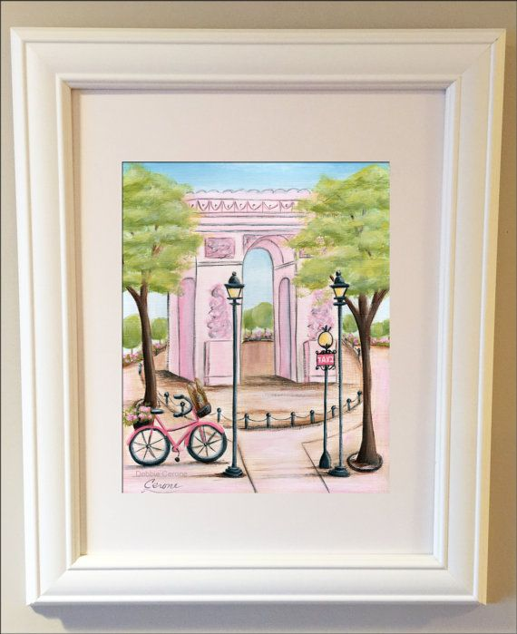 Arc de Triomphe Wall Art in Pink or Purple and Aqua, Paris Decor, Baby Shower Gift, Custom Name Print, French Nursery Art, Baby Girl Gift