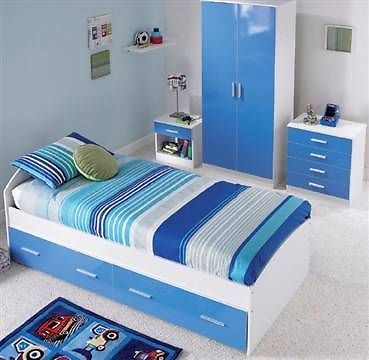 Details About Blue White High Gloss Furniture Bedroom