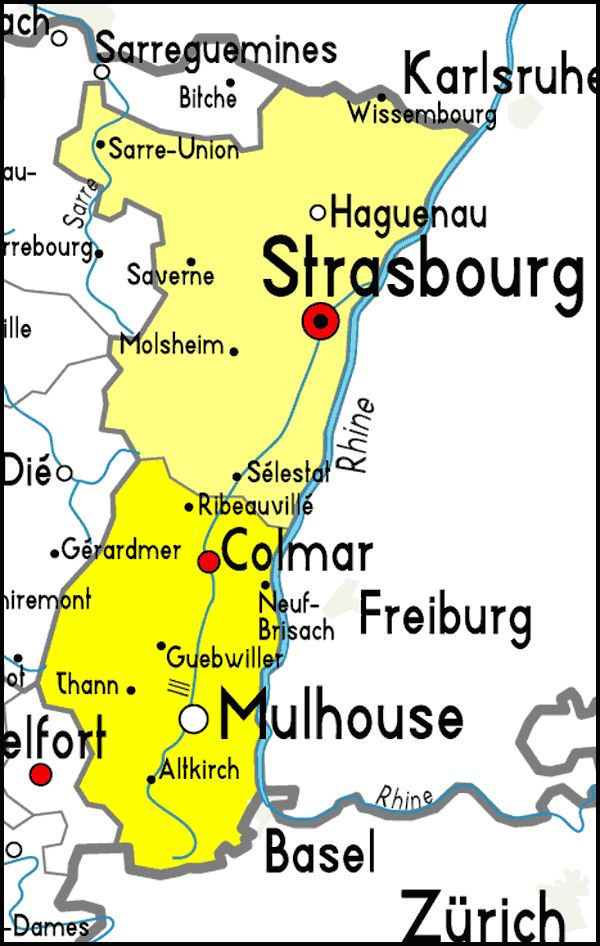 Alsace Region in yellow including Colmar Strasbourg and various
