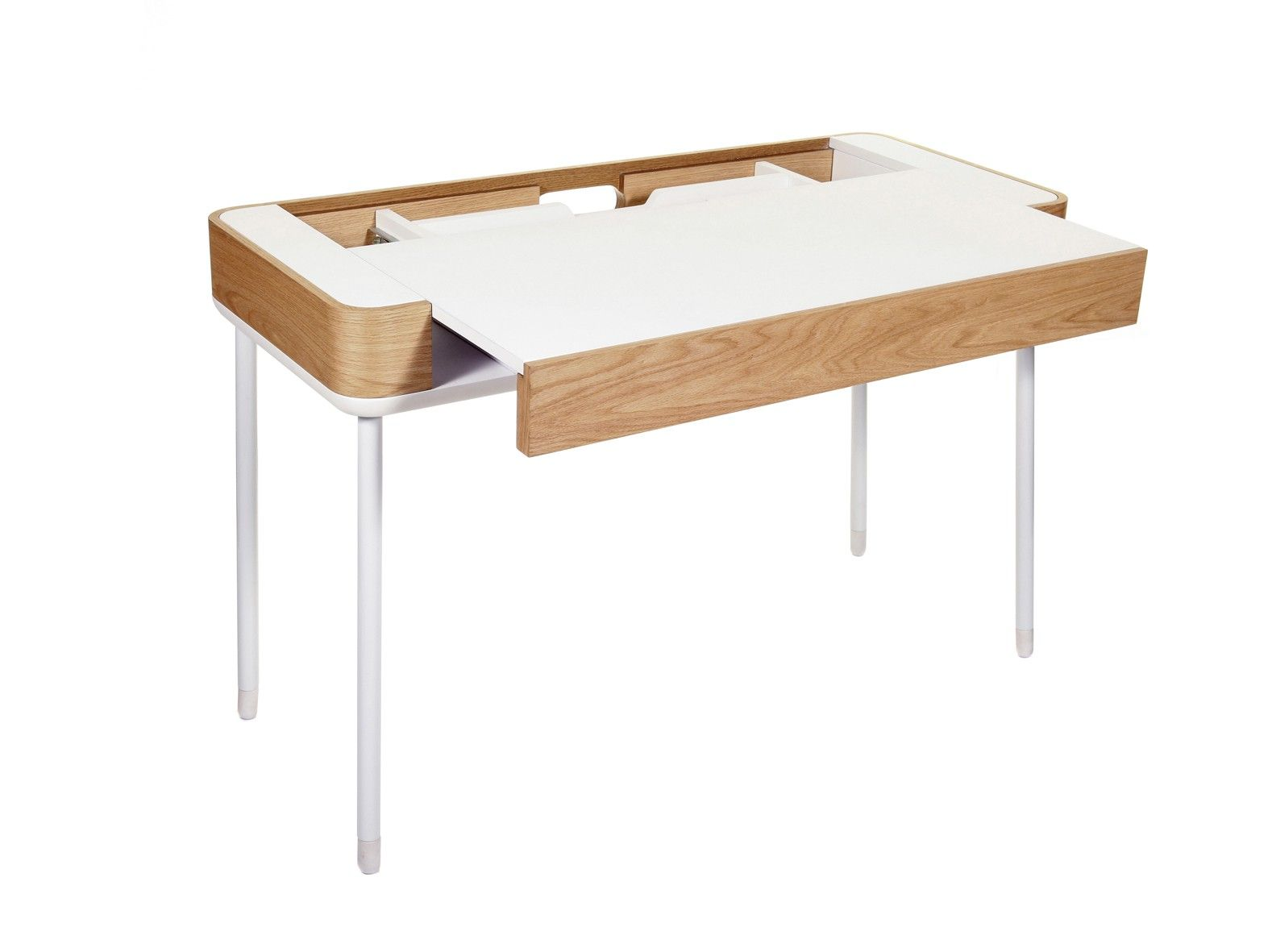 Pad console table console desk in white light oak by stil pad console table console desk in white light oak by stil furniture satin white light oak veneer finish minimal home assembly required geotapseo Choice Image