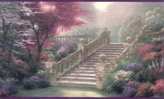 Thomas Kinkade Stairway Wallpaper Border 30882540b Wallpaper Border Wallpaper Inc Com Paradise Wallpaper Wallpaper Companies Stairways