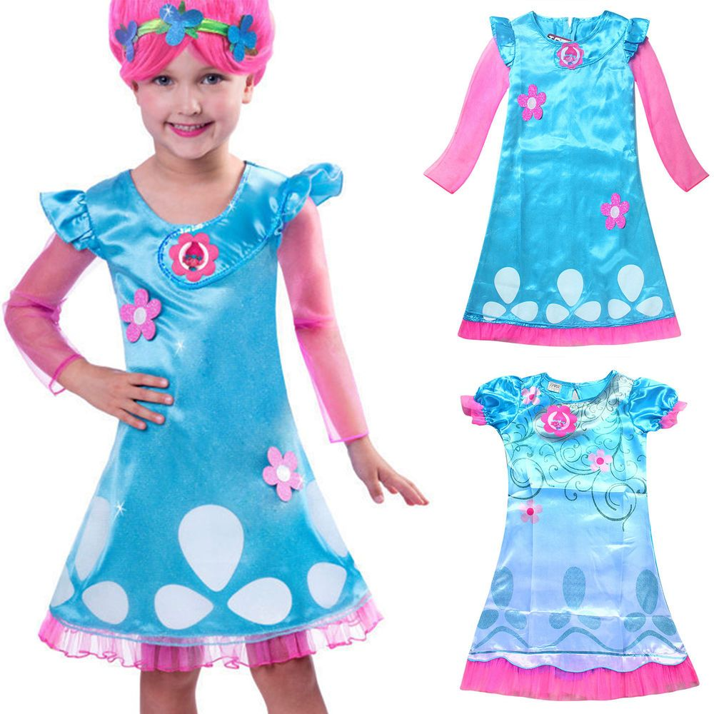 US Kids Girls Trolls Poppy Troll Doll Fancy Dress Costume Children ...