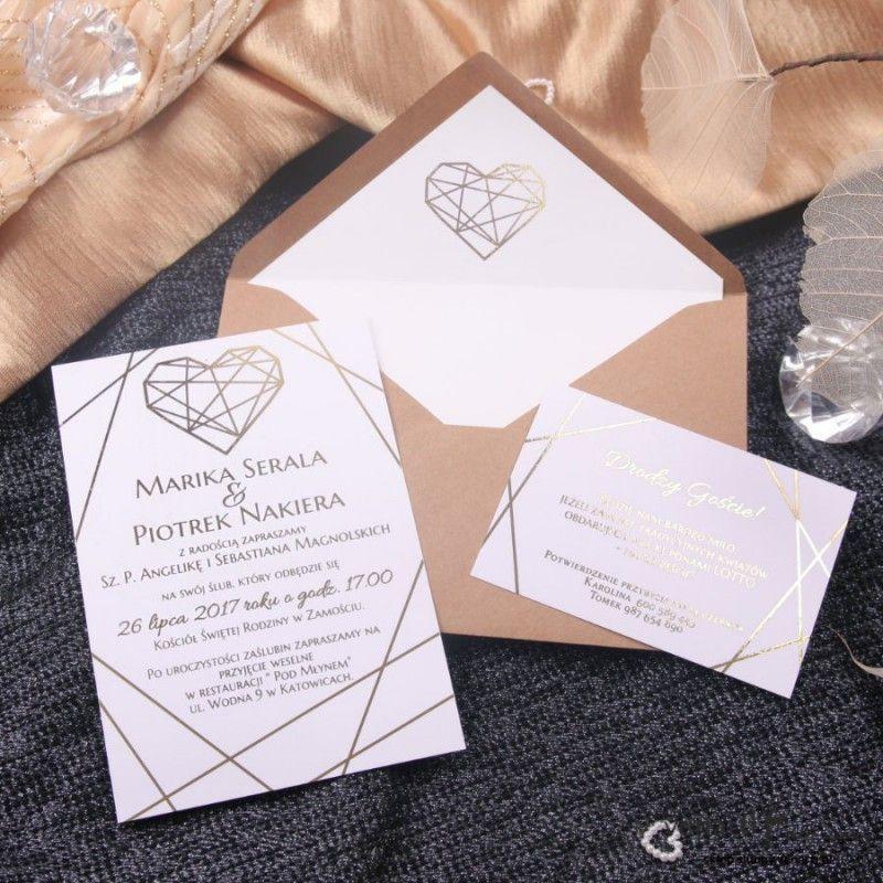 Zaproszenia ślubne Glamour Ze Złoceniem Zaproszenia ślubne