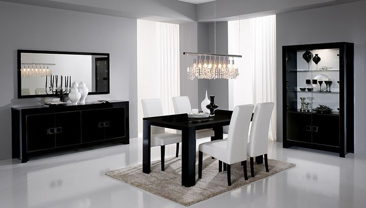 cool Salle à manger - Salle à manger complète noir laqué design ...