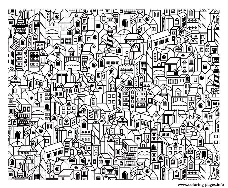 Print architecture big city coloring pages
