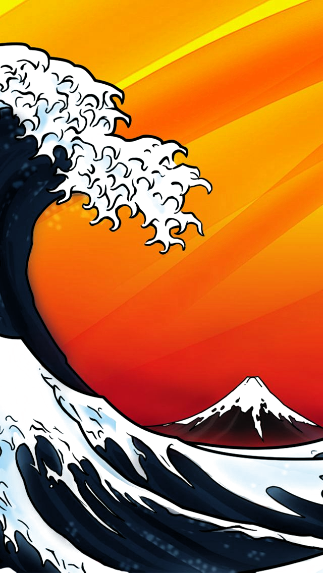 Fuji Wave iPhone5 Wallpaper (640x1136) in 2020 Japanese