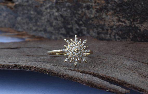 f3e90fe0d15b7 Statement Minimalist 1/2 Ct Diamond Promise Ring 14k Yellow Gold GP ...