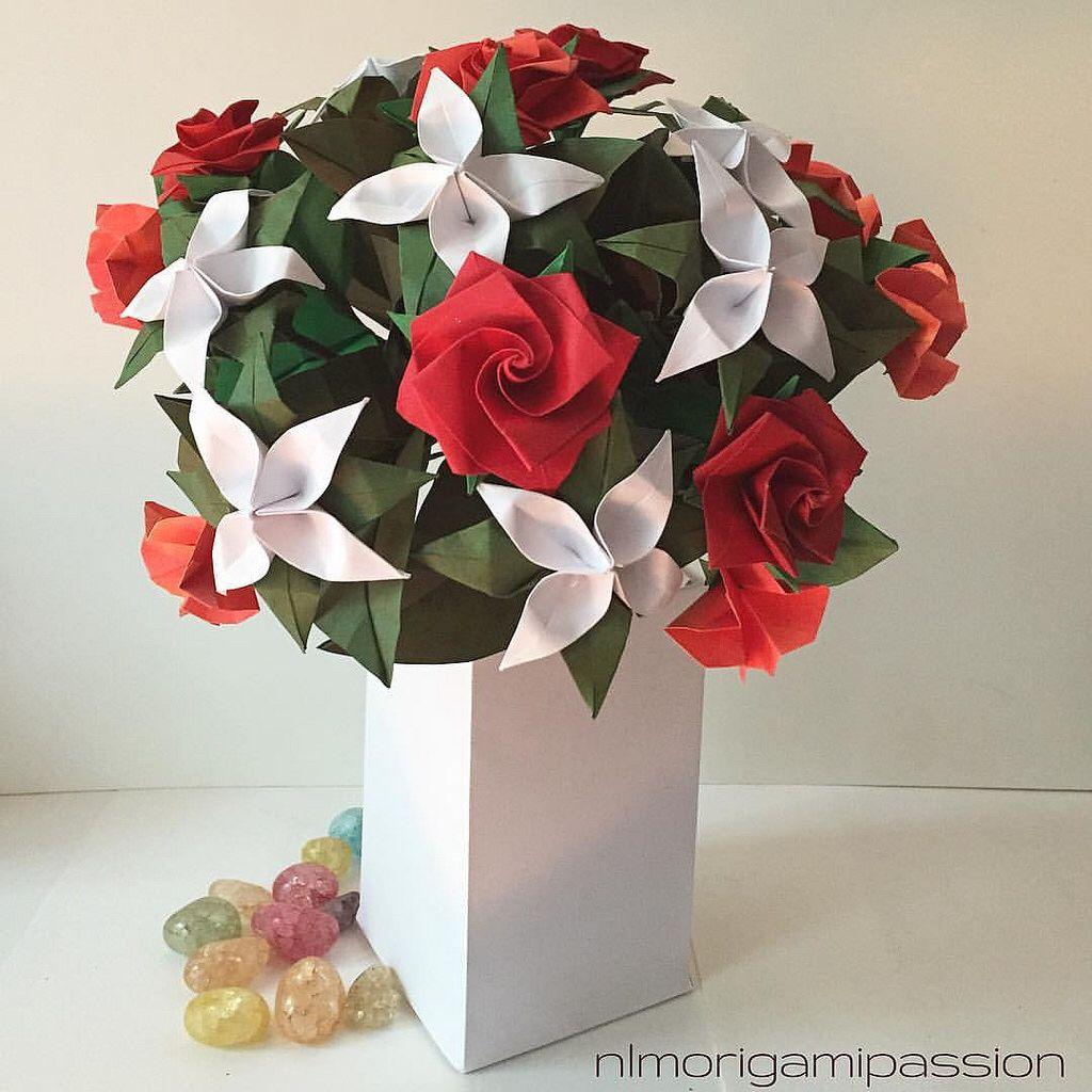 Classic nlm origami passion flower bouquet pinterest origami medium flower arrangements with vase mightylinksfo