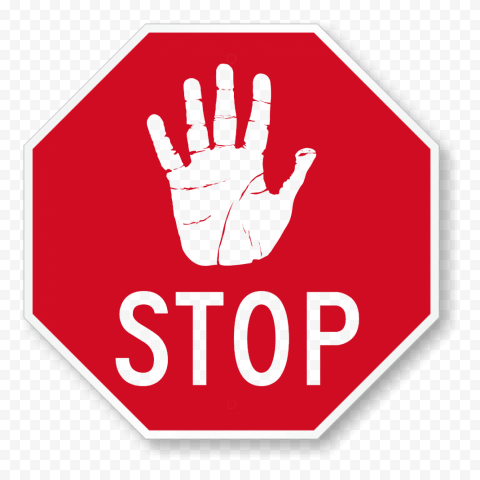 Hd Outline Hand Stop Silhouette On Red Stop Road Sign Png Road Signs Outline Png