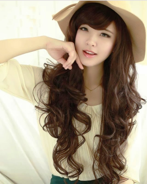 explore long curly side bangs and more gaya rambut wanita