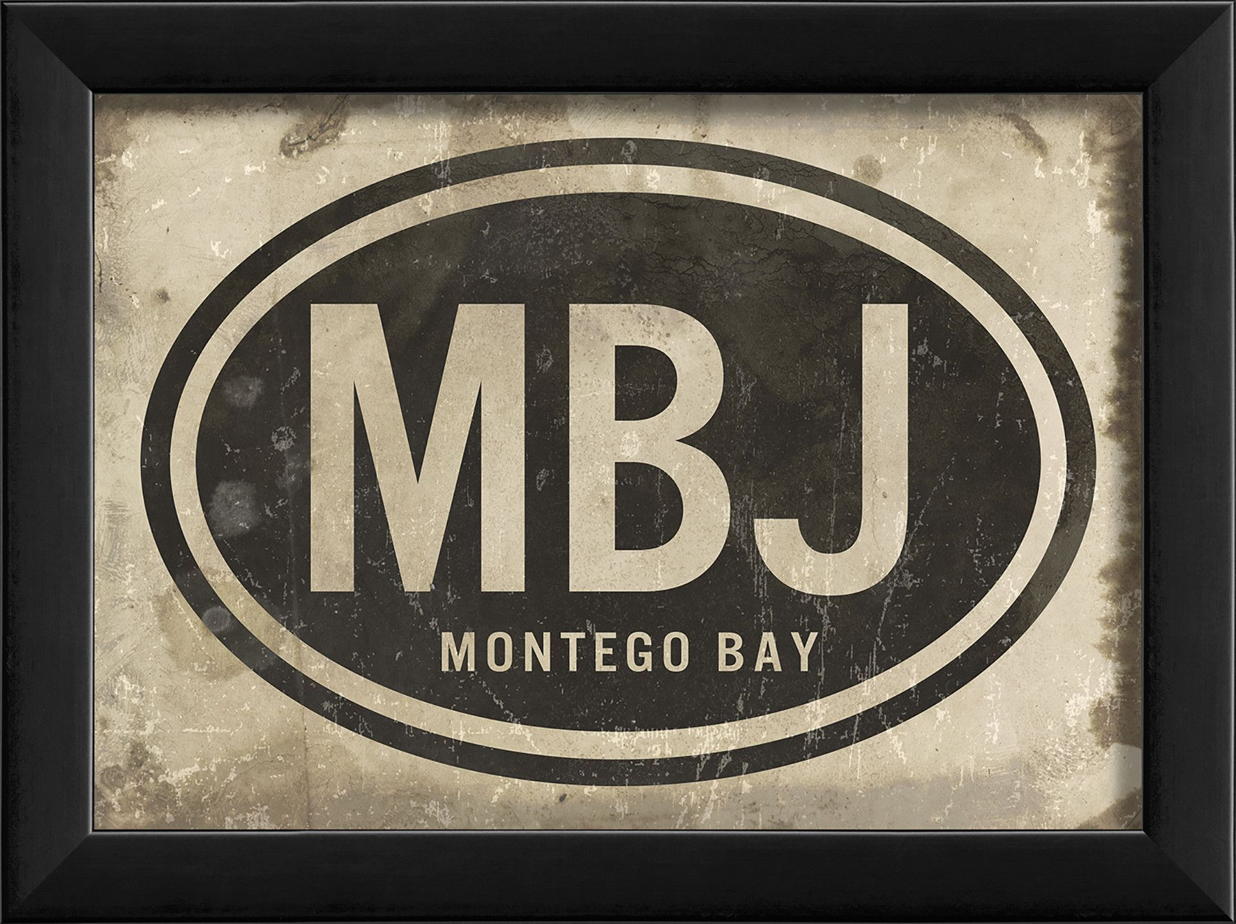 The Artwork Factory Mbj Montego Bay Airport Code Framed Textual Art Hand Painting Art Art Artwork
