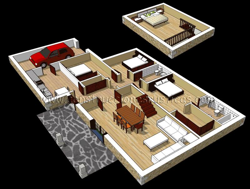 3d de distribuci n interior de casa r stica de piedra de - Planos de casa en 3d ...