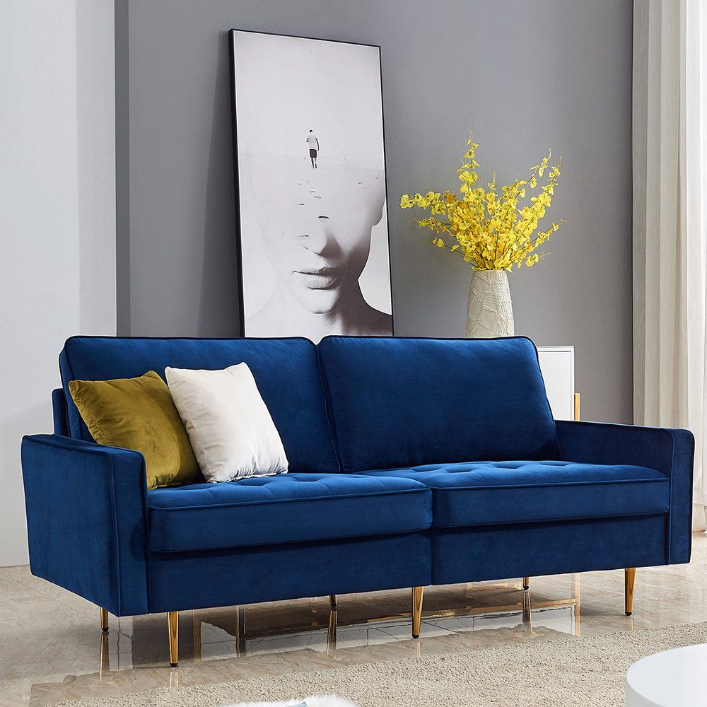 Blue Sofas For Living Room Mid Century Modern Fabric Sofa For Small Spaces Upholstered Sofas With Solid Wood Frame And 2 Throw Pillows Velvet Loveseat Sofa B In 2021 Sofas For
