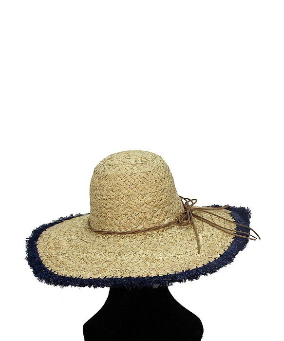 La Fiorentina   Oversized Straw Hat with Blue Rim and String Tie ... e8d7d91237b6