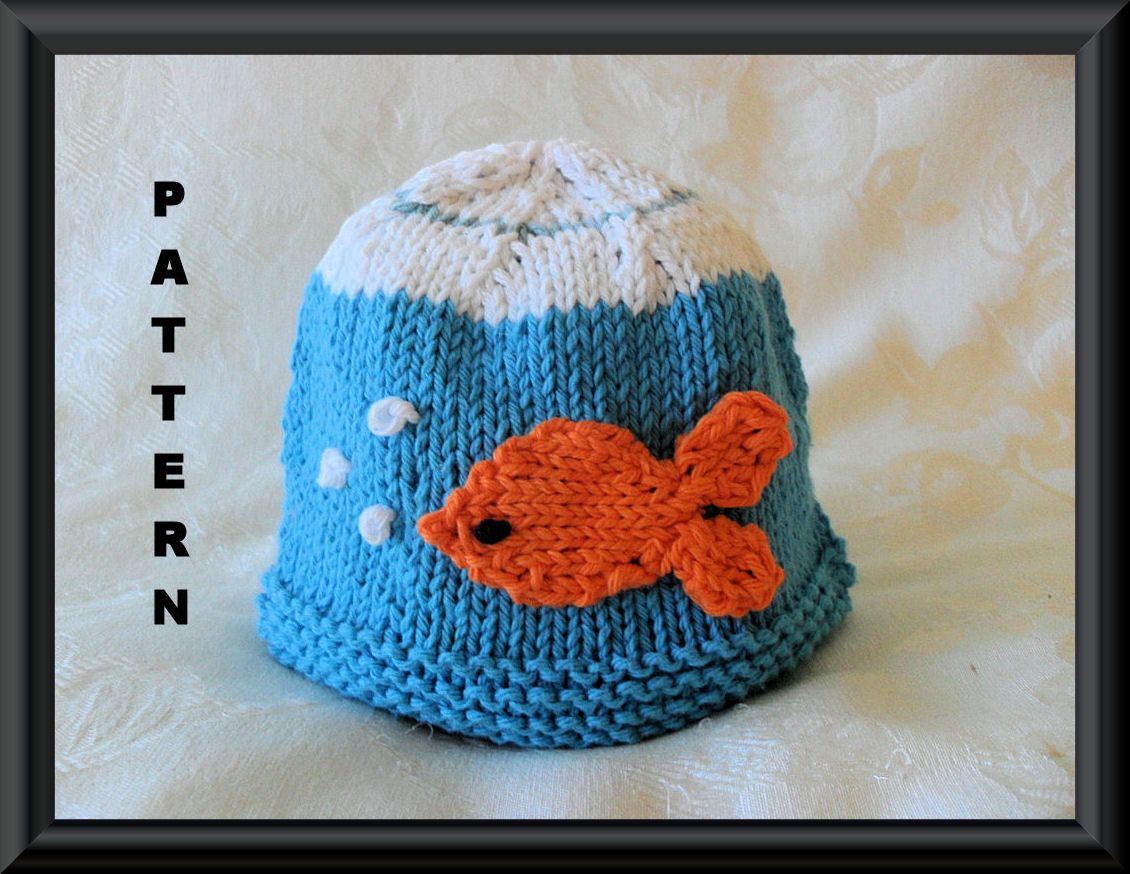 ae97c910f43 Knitted Hat Pattern Baby Hat Pattern Pet Goldfish in a Bowl Hat pattern  Newborn Hat Pattern Infant Hat Pattern March Madness  GOLDFISH by  CottonPickings on ...