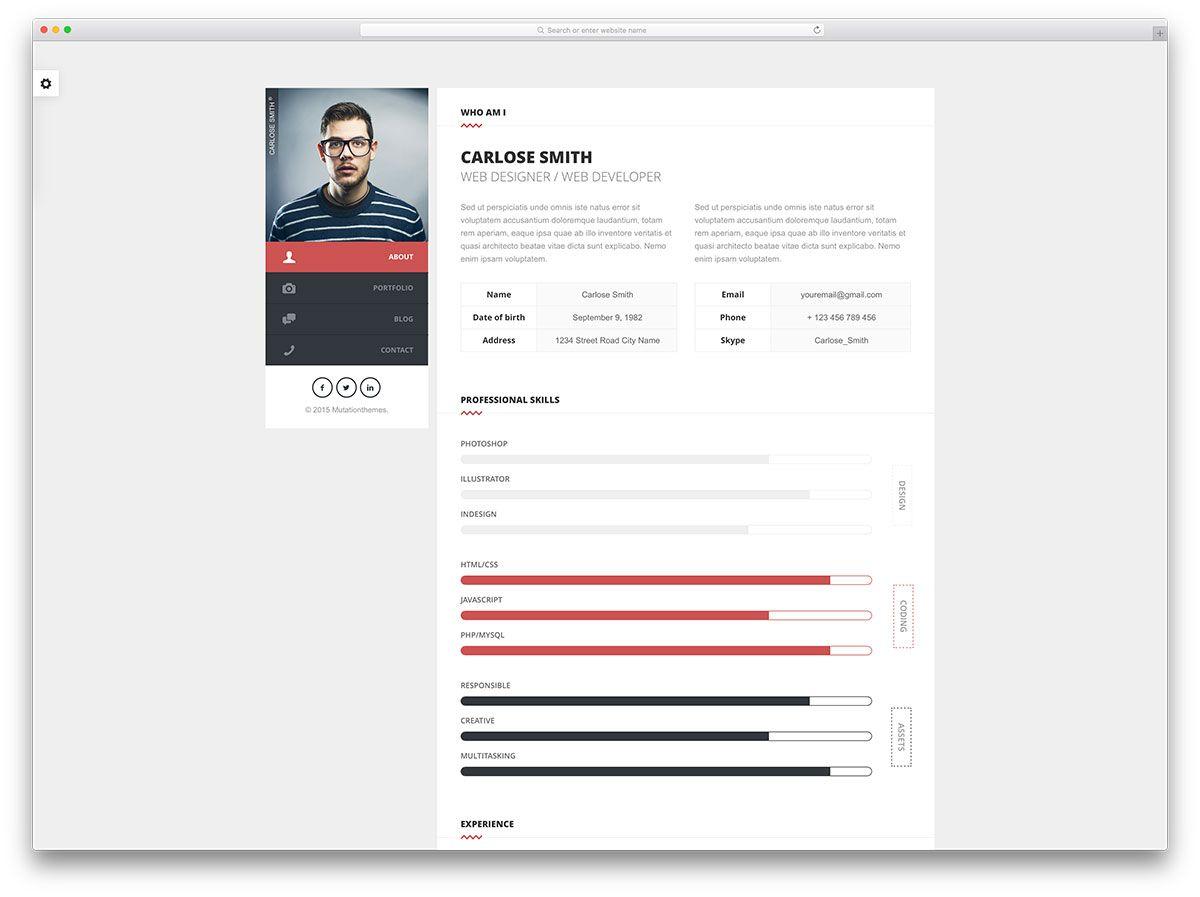 32 Best Html5 Resume Templates For Personal Portfolios 2020