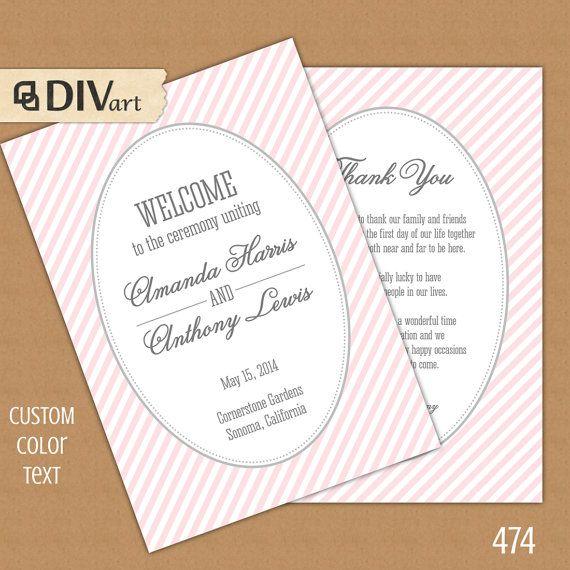 printable 5x7 wedding program match your wedding set folded