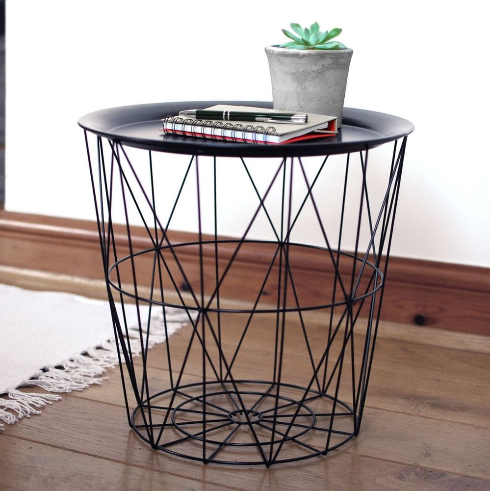 Black Geometric Iron Metal Wire Round Tray Top Storage Side Table