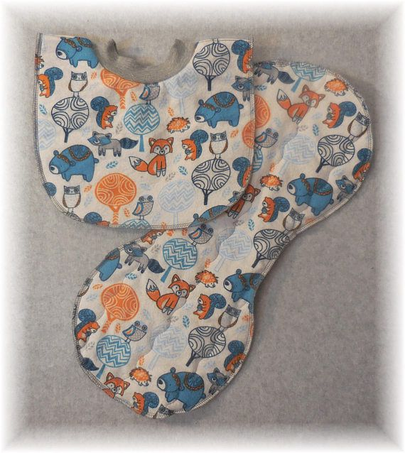 Baby Bib Pullover Fleece and Flannel Double Layer Bib Woodland ... 678f60200b