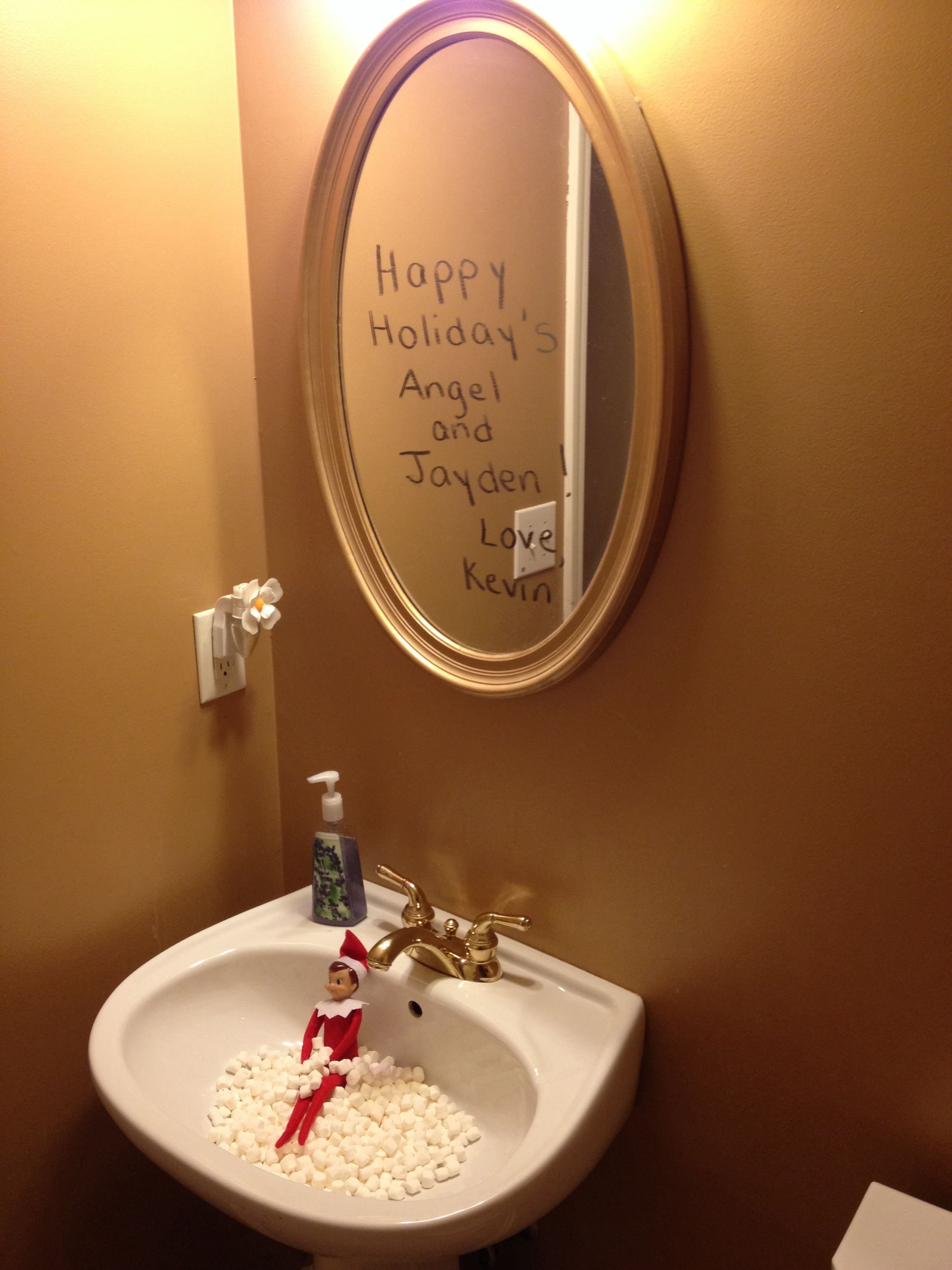 elf on the shelf ideas. Marshmallow bath with note