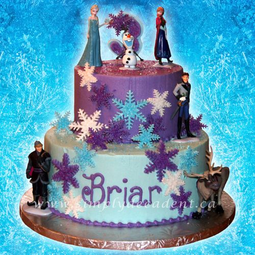 2 Tier Disney Frozen Birthday Cake With Blue And Purple